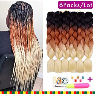 6 Packs Ombre Braiding Synthetic Hair Kanekalon Fiber Jumbo Braids Hair Extensions (Black to Brown to Blond)