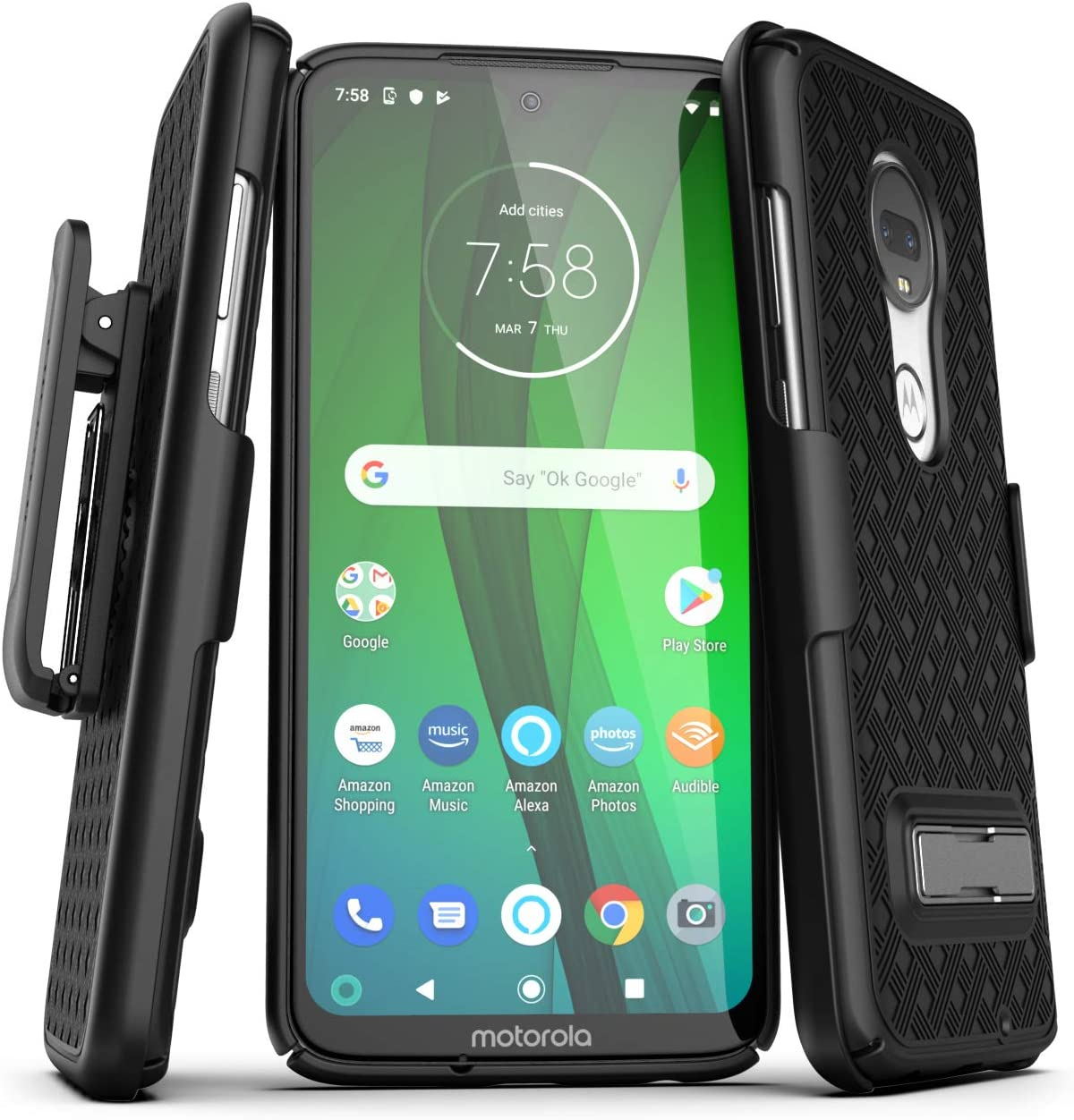 Encased Moto G7 Belt Case with Kickstand (2019 Slimline Series) Ultra Thin Cover w/ Holster Clip - Black