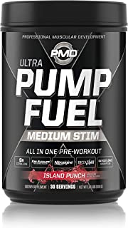 PMD Sports Ultra Pump Fuel - Pre Workout Drink for Energy, Strength, Endurance, Muscle Pumps and Recovery - Complex Carbohydrates and Amino Energy - Island Punch - 30 Servings