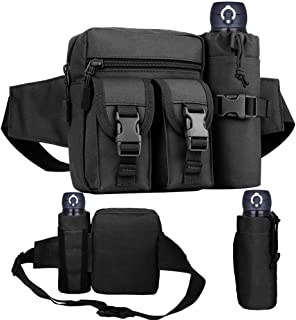 REDGO Tactical Waist Bag with Water Bottle Pouch, Waterproof Bum Bag Military Utility Canvas Fanny Pack Bumbag for Jogging...
