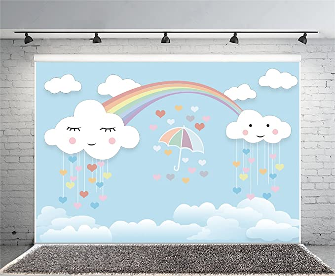 Geometric 10x15 FT Photography Backdrop Little Flowing Rainbow Like Colorful Triangles with Thank You Quote Artprint Background for Child Baby Shower Photo Vinyl Studio Prop Photobooth Photoshoot