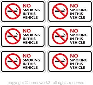 No Smoking in This Vehicle Sign Stickers, Vinyl Decals - Indoor & Outdoor Use, UV Protected & Waterproof - 2 X 4 Inch, 6 Labels