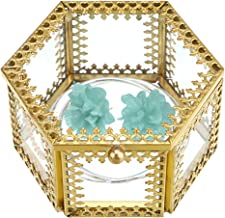 Hipiwe Hexagon Glass Jewelry Trinket Box - Ornate Jewelry Display Organizer Holder Ring Earring Chest Keepsake Box Case Preserved Flower Glass Decorative Box Home Decor Box (Small)