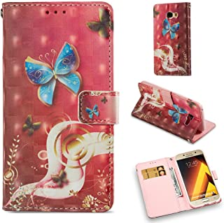 Galaxy A5 2017 Case,Durable Slim Wallet Case Cover Pu Leather Lightweight Credit Card Holder Shock Proof Wrist Strap Kicks...