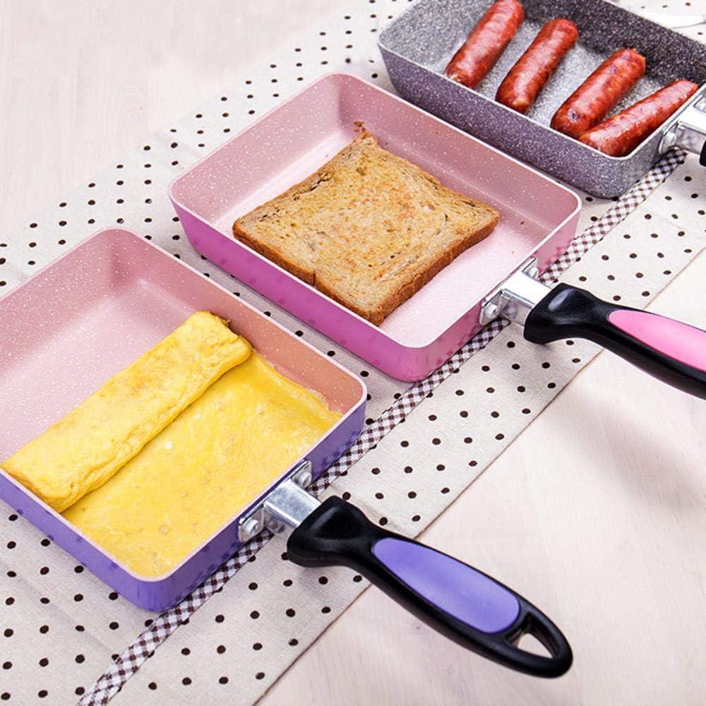 PKJP Moules à Oeufs 13x18 / 15x18 CM Poêles à Frire antiadhésives à Frire - Usage général pour cuisinière à gaz et à Induction, Bourgogne Red