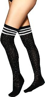 MISSGGBOND Womens Fashion Rhinestone Over the Knee High Stockings Sexy Triple Stripes Thigh High Socks
