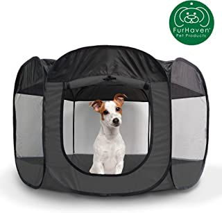 Furhaven Pet Playpen | Indoor/Outdoor Mesh Open-Air Playpen & Exercise Pen Tent House Playground for Dogs & Cats, Gray, Large