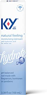 K-Y Natural Feeling Personal Lubricant with Hyaluronic Acid, 3.38 fl oz, Safe to Use with Latex Condoms, Moisturizing Wate...