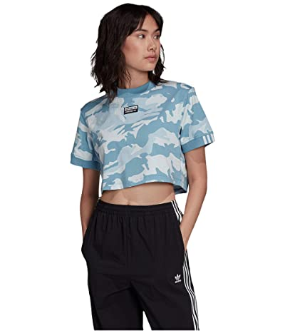 adidas Originals Cropped Tee (Sky Tint/Shade Blue/Easy Blue) Women