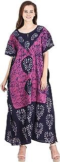 Odishabazaar Women's Ethnic Print Kaftan Maxi Dress Summer Beach Dress Cover Up