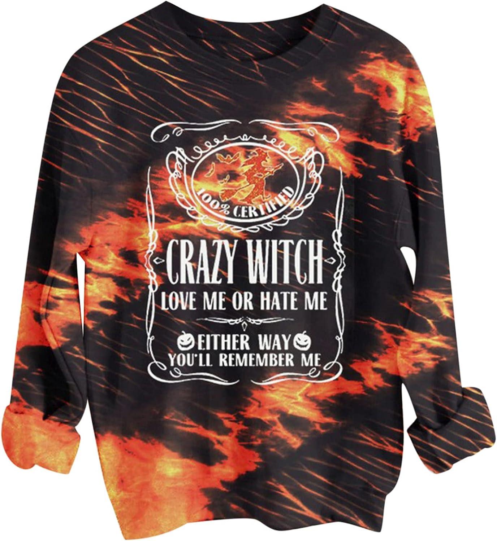Halloween Sweatshirt for Women Tie Dye Letter Printed Hoodies O Neck Long Sleeve Pullover Womens Tops