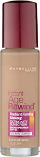 Maybelline New York Instant Age Rewind Radiant Firming Makeup, Pure Beige 250, 1 Fluid Ounce