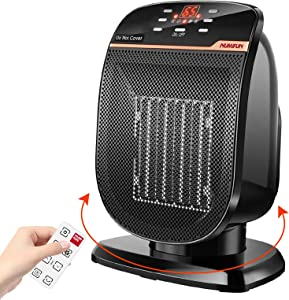 Space Heater Digital Electric Heater with Thermostat Small Portable Oscillating Ceramic Heater with Remote Control Temperature Timer Set Heater for Indoor Use Office Home Tip-Over and Overheat Protection, 900W/1500W