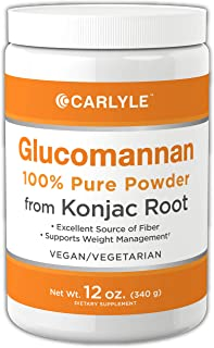 Glucomannan Powder | 12 oz | Vegan & Vegetarian | Non-GMO, Gluten Free | 100% Pure Konjac Powder Supplement | by Carlyle