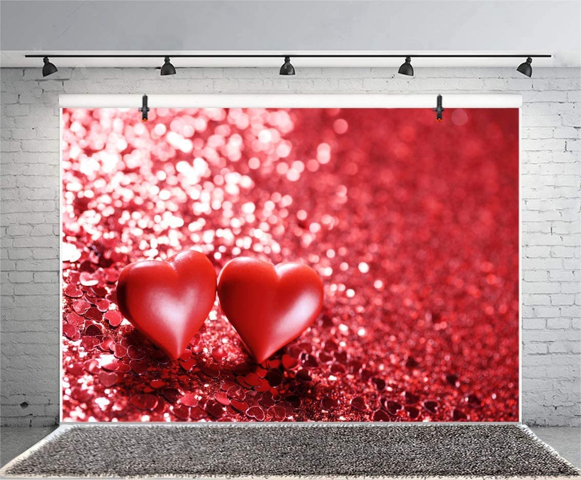 10x6.5ft Vinyl Backdrop Red Glitter Background Photography Red Hearts Space Love Theme Shiny Sparkling Bokeh Effect Backdrop Valentines Day Blackboard Photo Backdrop Studio Prop
