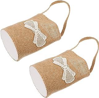 PRETYZOOOM in pizzo con maniglia decorazione per festa di nozze bianco Cestino a forma di cuore per damigella donore