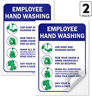 Sigo Signs (2 Pack Employees Hand Washing Sign, 10 X 7 4 Mil Sleek Vinyl Decal Stickers Weather Resistant Long Lasting UV Protected and Waterproof Made in USA