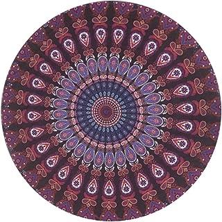 SHOP-STORY - Paréos Hippie Chic/Serviette de Plage Ronde Imprimés Aztec - Sarong Flower