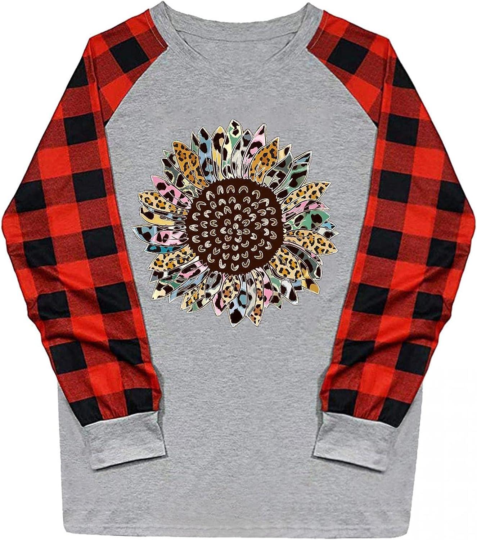 UOCUFY Sweatshirt for Women, Womens Blouse Plaid Shirts Cute Printed Raglan Pullover Casual Long Sleeve Crewneck Tops