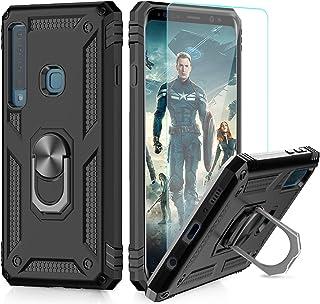 LeYi Funda Samsung Galaxy A9 2018 Armor Carcasa con 360 Anillo iman Soporte Hard PC y Silicona TPU Bumper antigolpes Fundas Carcasas Case para movil A9 2018 con HD Protector de Pantalla,Negro