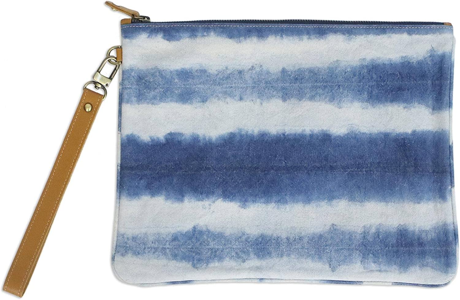 NOVICA Blue Leather Accent and 100% Tie-dyed Cotton Wristlet, Sky Stripes'