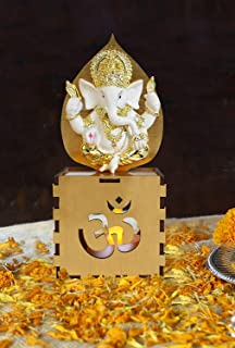 TIED RIBBONS Gold Plated Ganesha Indian God Idol Statue with Tealight Candle for Home, Office, Table Desk Decoration and Religious Gifts