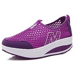 ddd6f9f21cca Orlancy Women s Mesh Wedge Sports Shoes Slip On Lightweight Fitness ...
