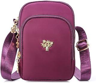 حقيبة ذات حزام طويل يمر بالجسم مصنوعة من النايلون للهاتف الخلوي للنساء، محفظة صغيرة ذات حزام طويل يمر بالجسم