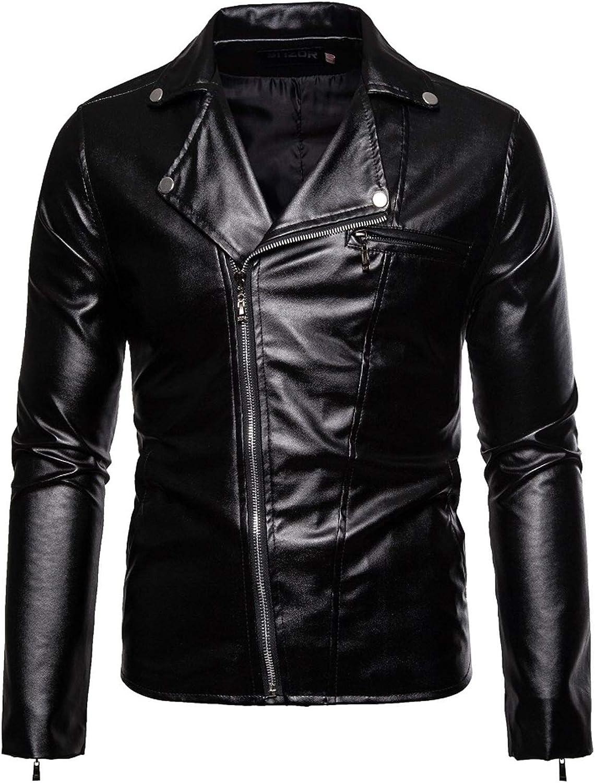 Men Leather Jackets,Vintage Classic Leather Zip Up Biker Bomber Jacket V1744