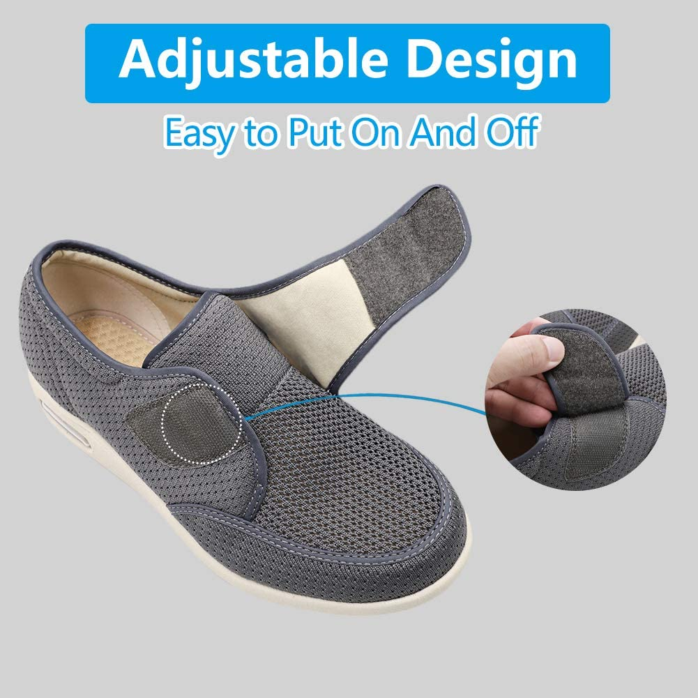 Mens Diabetic Edema Shoes Lightweight Walking Mesh Breathable Wide Sneakers Strap Adjustable Easy On and Off for Elderly Swollen Feet Plantar Fasciitis