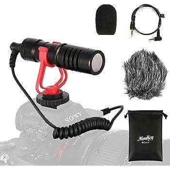 Moukey MCm-1 Microfono per videocamera universale con ammortizzatore, anti-vento palla sintetico e copertura in schiuma, cavo di conversione da 3,5 mm