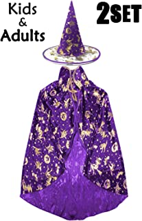 Halloween Witch Costumes Womens Cloak Boy Girl Wizard Cape Hat Family & Group Costume Cosplay Party