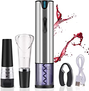 Electric Wine Opener Rechargeable,Automatic Wine Bottle Openers With Premium Vacuum, Wine Opener,Pourer,Foil Cutter And Usb Recharging Interface.Gift Kit