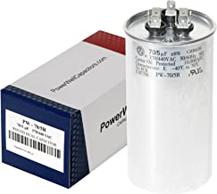 PowerWell 70+5 MFD uf Micro Farad 370 or 440 Volt Dual Run Round Capacitor PW-CAP-70/5/370-440V for Condenser Straight Cool or Heat Pump Air Conditioner