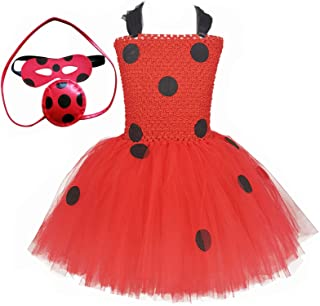 O'COCOLOUR Ladybug Costume for Girls 1-10 Years Halloween Dress Up Outfits Birthday Carnival Tea Party Gifts