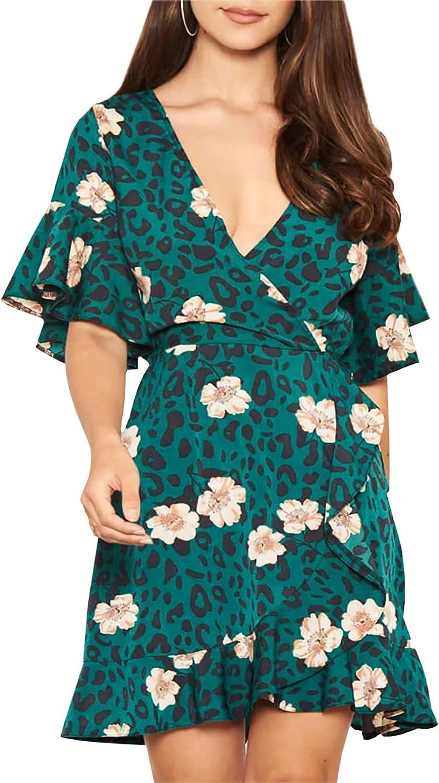 Relipop Women's Dresses Floral Print V Neck Flared Short Sleeve Elastic Waist Wrap Hem Short Casual Dress