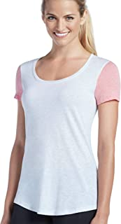 Jockey Women's Activewear Essential Scoopneck Tee, Coral/Ecru Heather, L