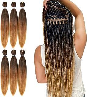 پیش کشیده مو بافته 22 اینچ 6 بسته حرفه ای نرم یاکی موی بافته شده برای نوارهای گرم تنظیم آب گرم قلاب دوزی مصنوعی (1B / 30/27)