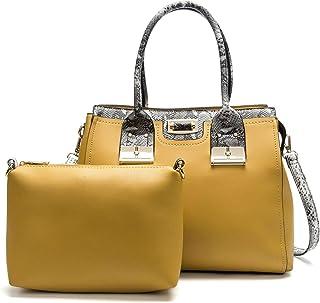 Snake Texture Handbag Set Of 2 Versatile Multi Piece Set (Color : Yellow)