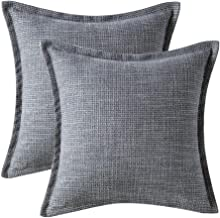 Glory Season Throw Pillow Covers 18 x 18 Set of 2 Grey,Decorative Cushion Cases for Bed Sets Sofa Bedroom and Living Room