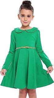 Little Girls Dresses Long Sleeve Doll Collar Swing Party Dress