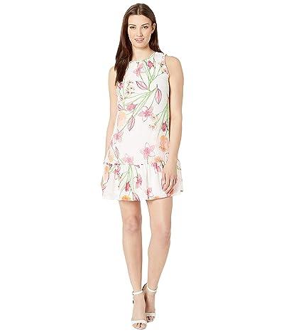 Calvin Klein Floral Chiffon Dress w/ Ruffle Hem (Ember Multi) Women