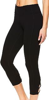Gaiam Women's Capri Yoga Pants - Performance Spandex Compression Legging - Black Stella Strappy, Small