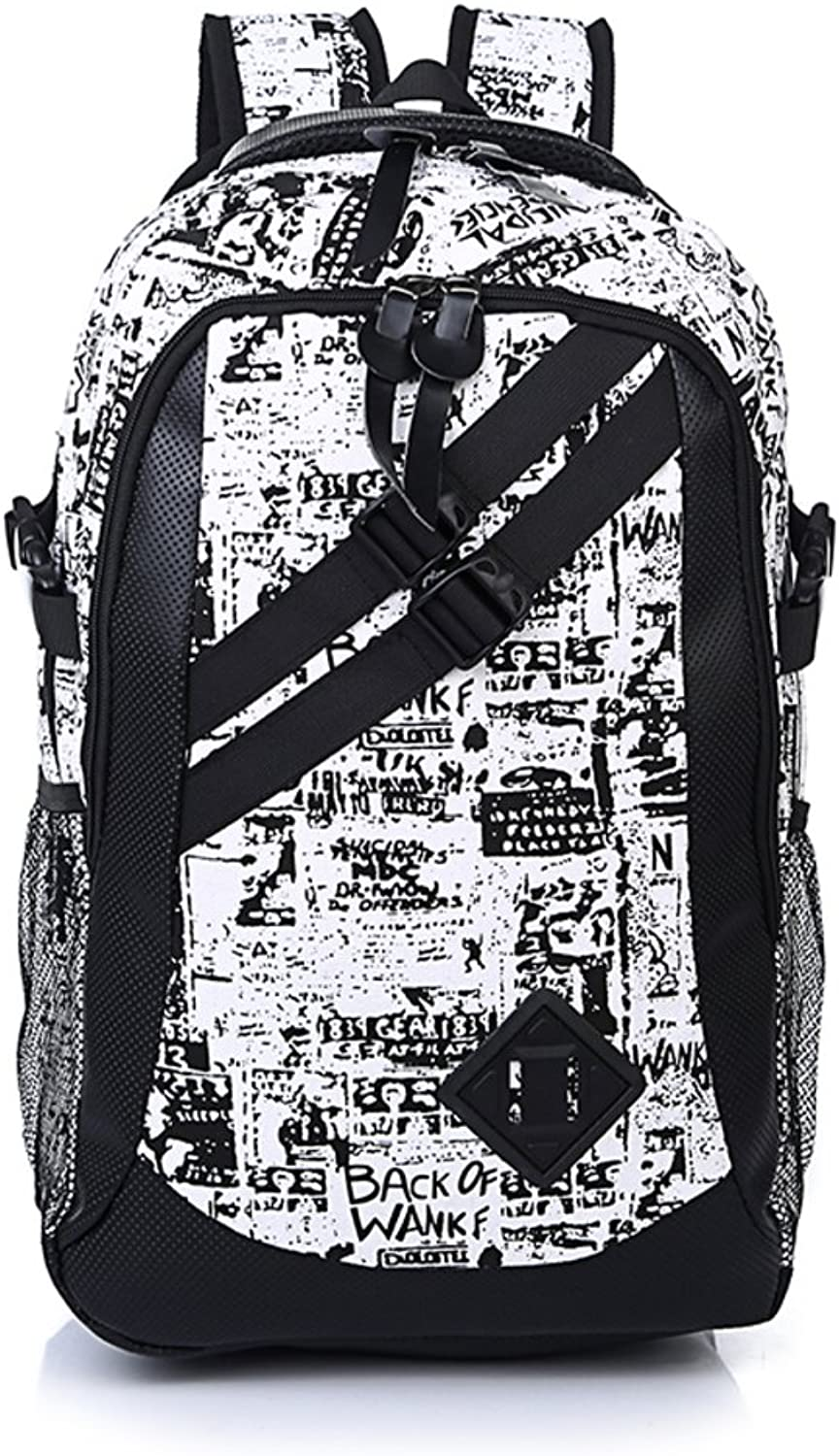 Youth Men and women versatile double shoulder bag Tide cool canvas backpack Fashion backpack Wild casual backpack Camouflage graffiti backpack School bags Computer bag-D
