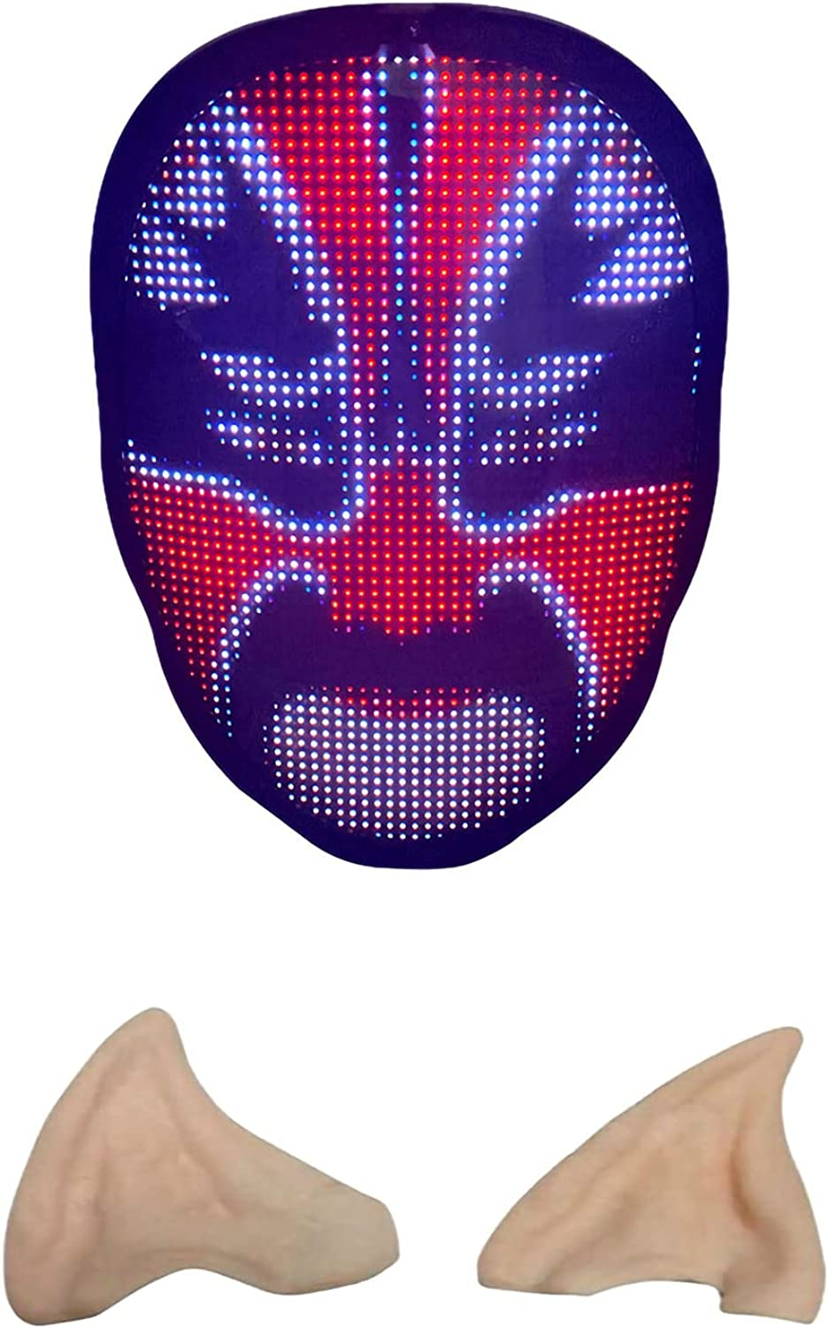 Scary Halloween Mask - Cosplay Masquerade Led Mask With Bluetoot