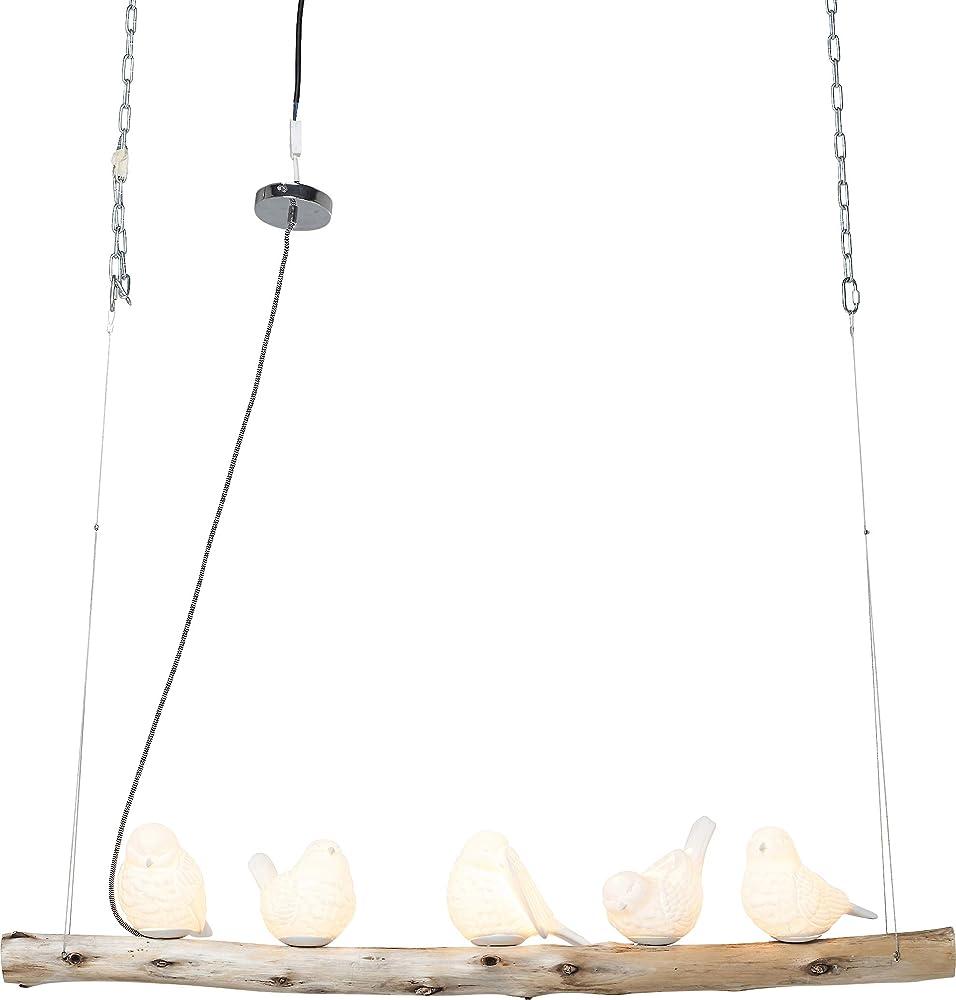 Kare design, lampada a sospensione,in porcellana e legno di eucalipto 38804
