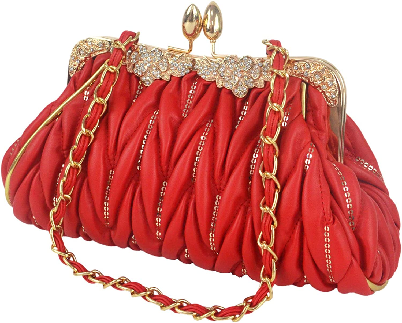 Seattle Mall Aisunne Womens Leather Vintage Pleated Handbag Ba lowest price Clutch Evening