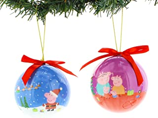 Kurt Adler Peppa Pig 2 Piece Decoupage Ball Ornament Set Gift Boxed (Peppa Blue/Purple)