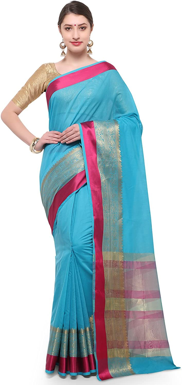 Varkala Silk Sarees Women Blended Cotton saree (TD1190AD_Turquoise bluee_Freesize)