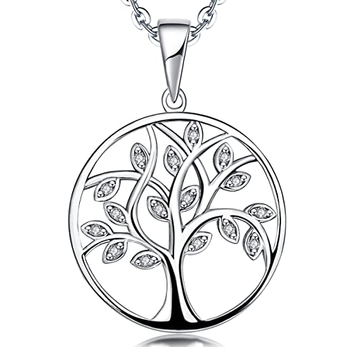 bb9a6242f YL Tree Necklace Sterling Silver Tree of Life Pendant Gemstone White Gold  Plated Christams Jewelry